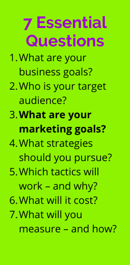 Graphic showing list of 7 essential marketing planning questions