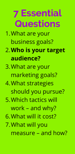 List of marketing planning questions on business goals, audience, marketing goals, strategies, tactics, costs and measurement